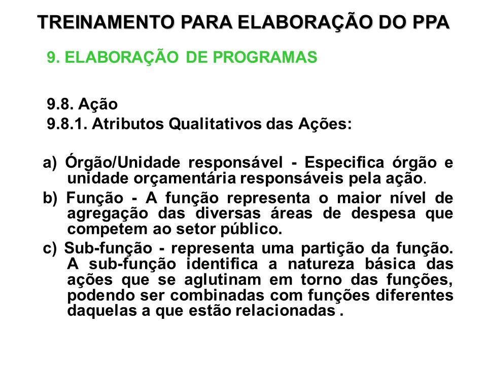 9. ELABORAÇÃO DE PROGRAMAS 9.8. Ação 9.8.1. Atributos Qualitativos das Ações: a) Órgão/Unidade responsável - Especifica órgão e unidade orçamentária r