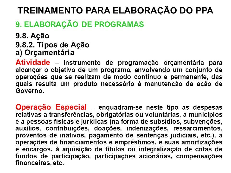 9. ELABORAÇÃO DE PROGRAMAS 9.8. Ação 9.8.2. Tipos de Ação a) Orçamentária Atividade – instrumento de programação orçamentária para alcançar o objetivo