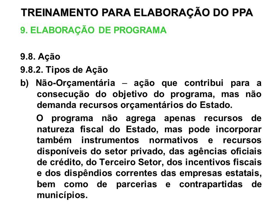 9. ELABORAÇÃO DE PROGRAMA 9.8. Ação 9.8.2. Tipos de Ação b) Não-Orçamentária – ação que contribui para a consecução do objetivo do programa, mas não d