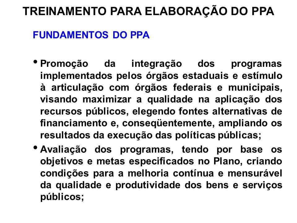 FUNDAMENTOS DO PPA Promoção da integração dos programas implementados pelos órgãos estaduais e estímulo à articulação com órgãos federais e municipais