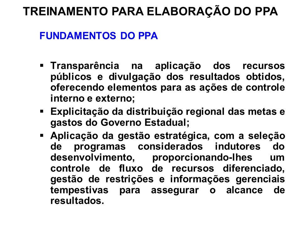 FUNDAMENTOS DO PPA Transparência na aplicação dos recursos públicos e divulgação dos resultados obtidos, oferecendo elementos para as ações de control