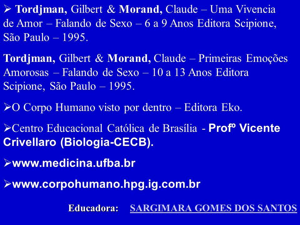 Sistema Reprodutor – Corpo Humano a máquina da Vida – O sonho de Sofia – (Editora Brasileitura – 2000) LUZ, Maria de Lá & Santos, Magaly Terezinha dos.