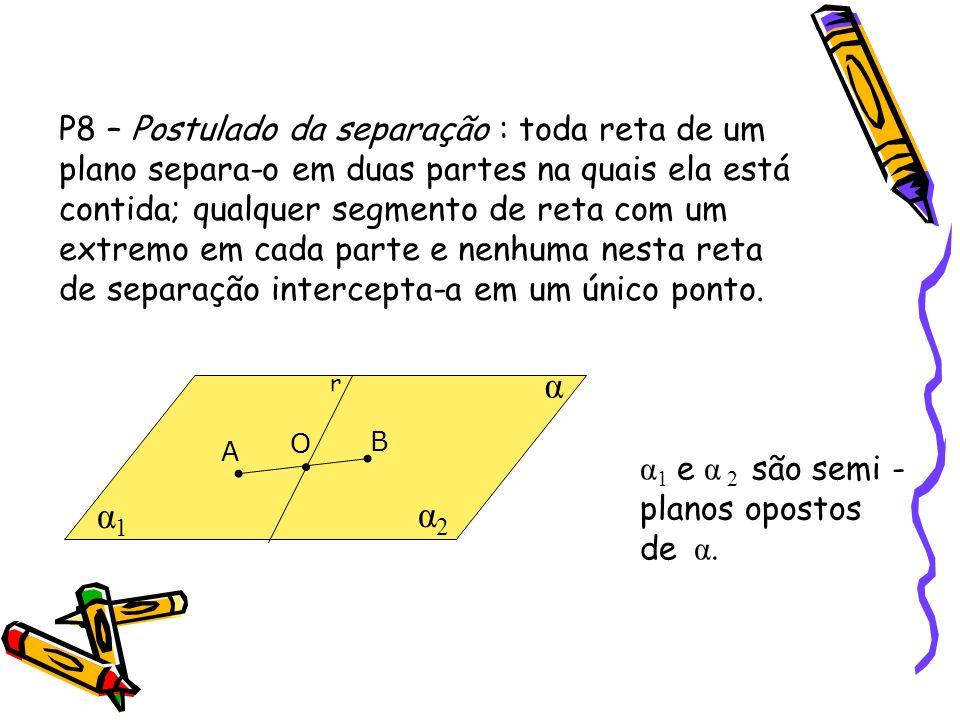 P8 – Postulado da separação : toda reta de um plano separa-o em duas partes na quais ela está contida; qualquer segmento de reta com um extremo em cada parte e nenhuma nesta reta de separação intercepta-a em um único ponto.