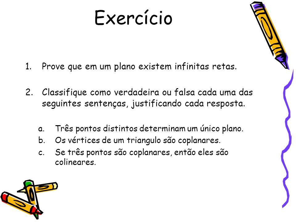 Exercício 1.Prove que em um plano existem infinitas retas.