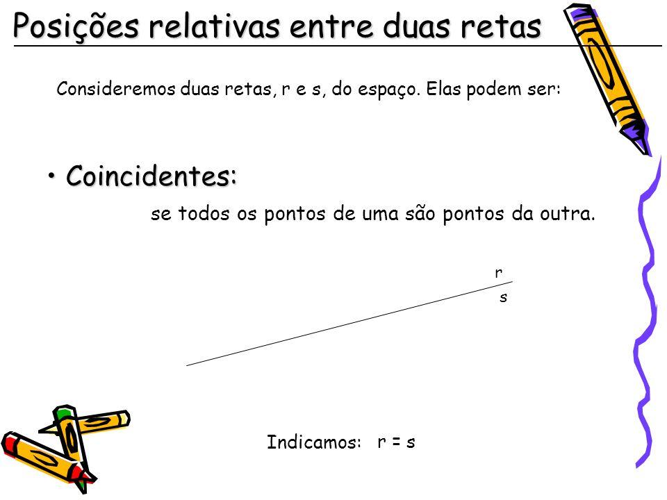 Posições relativas entre duas retas Consideremos duas retas, r e s, do espaço.