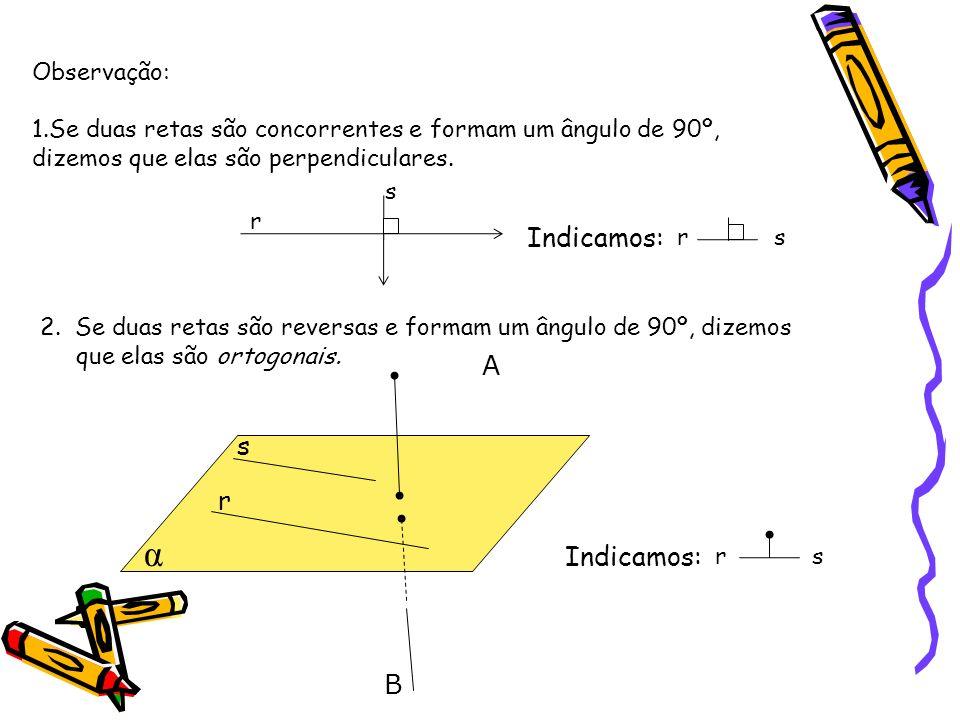 Observação: 1.Se duas retas são concorrentes e formam um ângulo de 90º, dizemos que elas são perpendiculares.