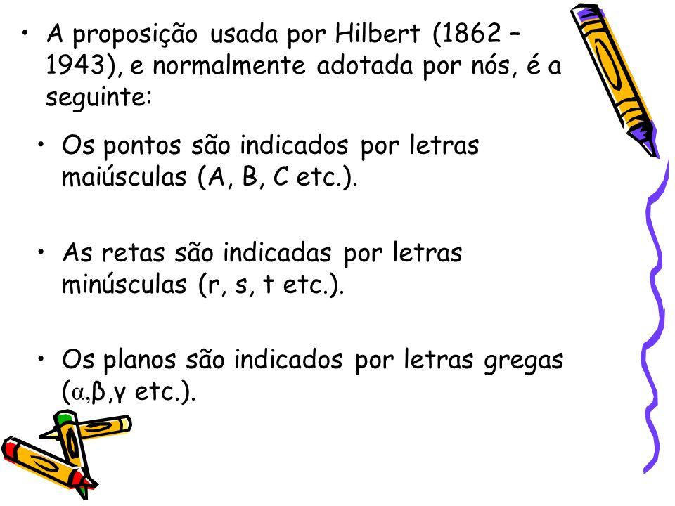 A proposição usada por Hilbert (1862 – 1943), e normalmente adotada por nós, é a seguinte: Os pontos são indicados por letras maiúsculas (A, B, C etc.).
