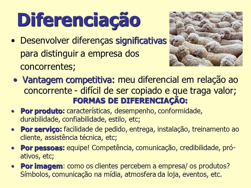 Diferenciação significativasDesenvolver diferenças significativas para distinguir a empresa dos concorrentes; Vantagem competitiva: FORMAS DE DIFERENC