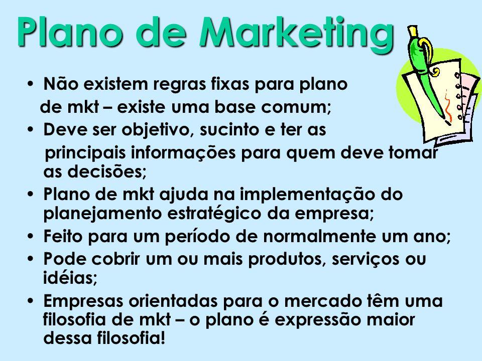 Plano de Marketing Não existem regras fixas para plano de mkt – existe uma base comum; Deve ser objetivo, sucinto e ter as principais informações para