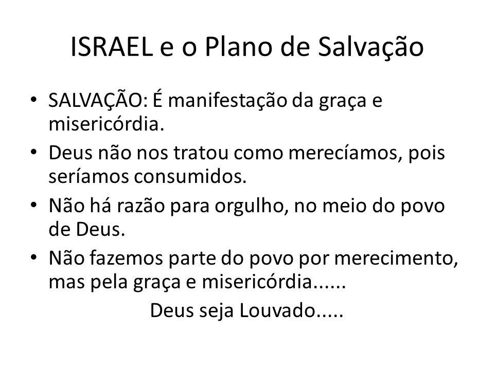 ISRAEL e o Plano de Salvação SALVAÇÃO: É manifestação da graça e misericórdia. Deus não nos tratou como merecíamos, pois seríamos consumidos. Não há r