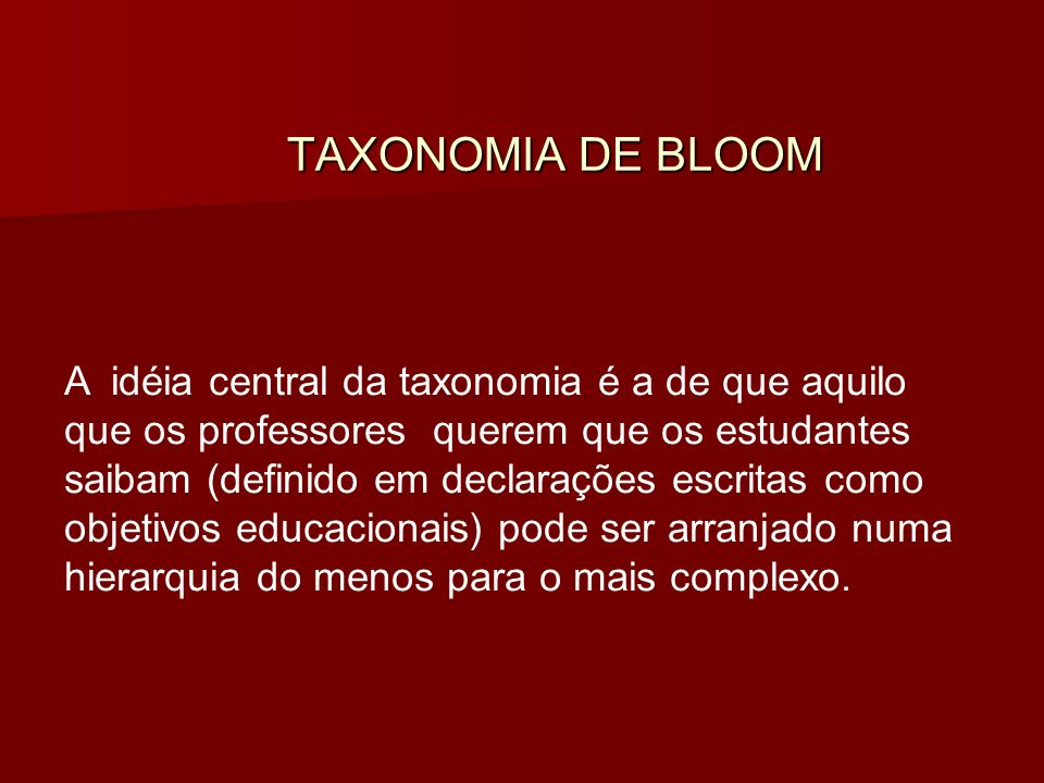 TAXONOMIA DE BLOOM TAXONOMIA DE BLOOM A idéia central da taxonomia é a de que aquilo que os professores querem que os estudantes saibam (definido em declarações escritas como objetivos educacionais) pode ser arranjado numa hierarquia do menos para o mais complexo.