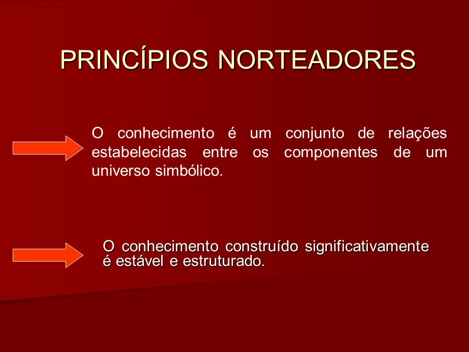 PRINCÍPIOS NORTEADORES O conhecimento construído significativamente é estável e estruturado.