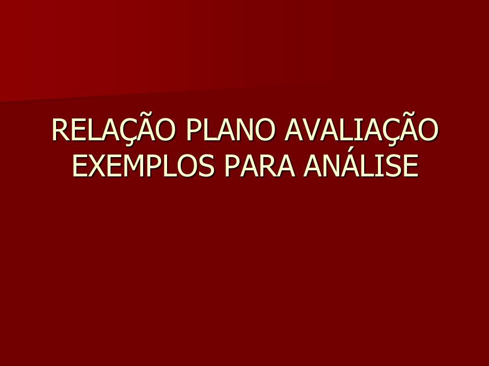 RELAÇÃO PLANO AVALIAÇÃO EXEMPLOS PARA ANÁLISE
