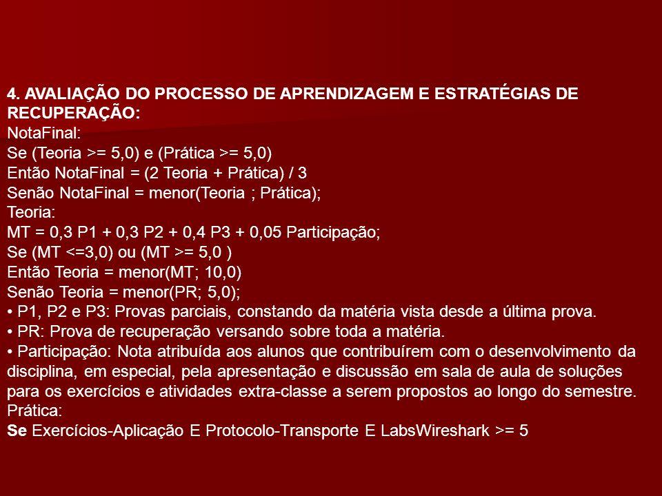 4. AVALIAÇÃO DO PROCESSO DE APRENDIZAGEM E ESTRATÉGIAS DE RECUPERAÇÃO: NotaFinal: Se (Teoria >= 5,0) e (Prática >= 5,0) Então NotaFinal = (2 Teoria +
