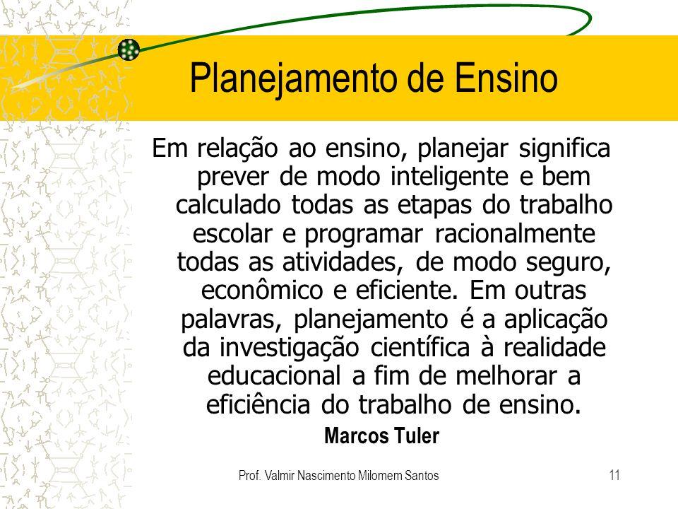 Prof. Valmir Nascimento Milomem Santos10 Planejamento Quem utiliza? Engenheiros Projeto Administradores Planejamento Estratégico Exército Tática de Gu