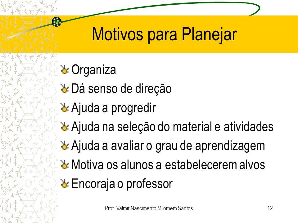 Prof. Valmir Nascimento Milomem Santos11 Planejamento de Ensino Em relação ao ensino, planejar significa prever de modo inteligente e bem calculado to