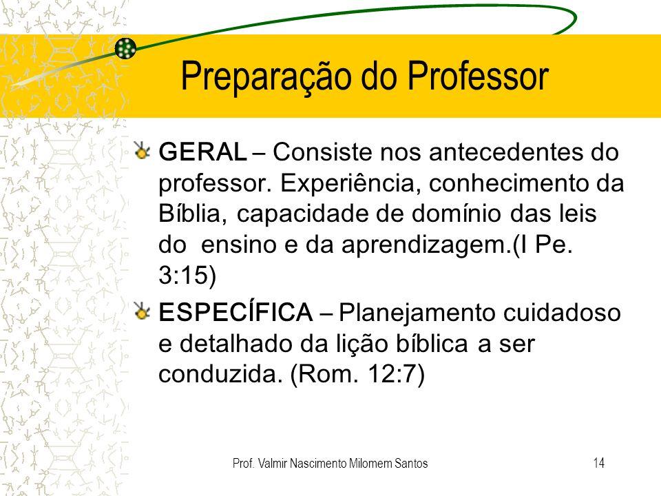 Prof. Valmir Nascimento Milomem Santos13 Plano de Aula Plano de aula é um instrumento de trabalho que especifica os comportamentos esperados do aluno,