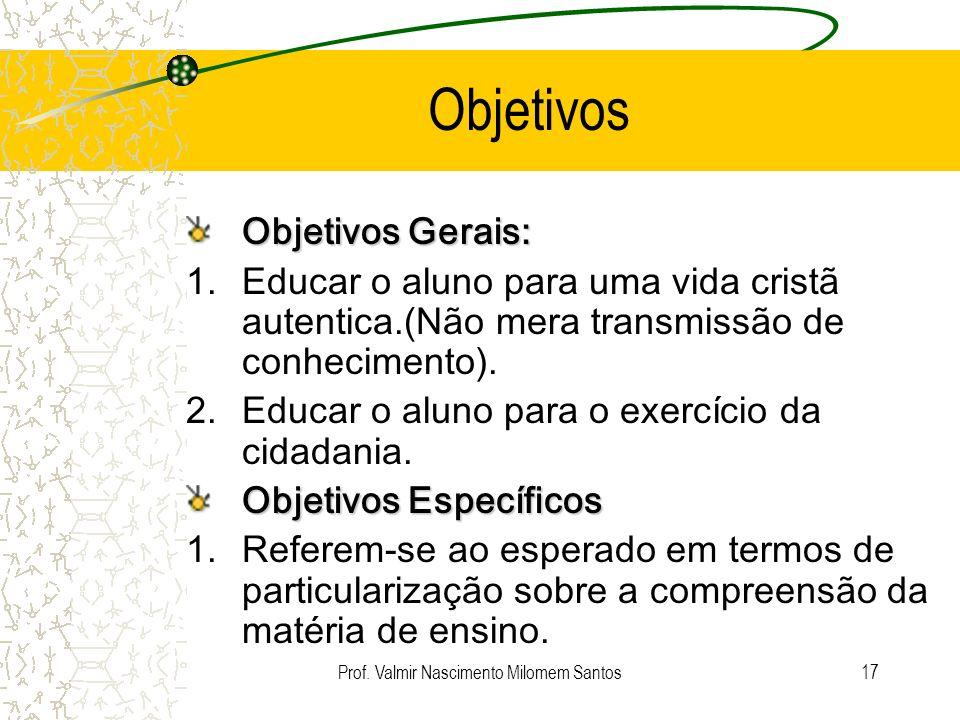 Prof. Valmir Nascimento Milomem Santos16 Perguntas anteriores: O que pretendo alcançar? Como alcançar? Em quanto tempo? O que fazer e como fazer? Como