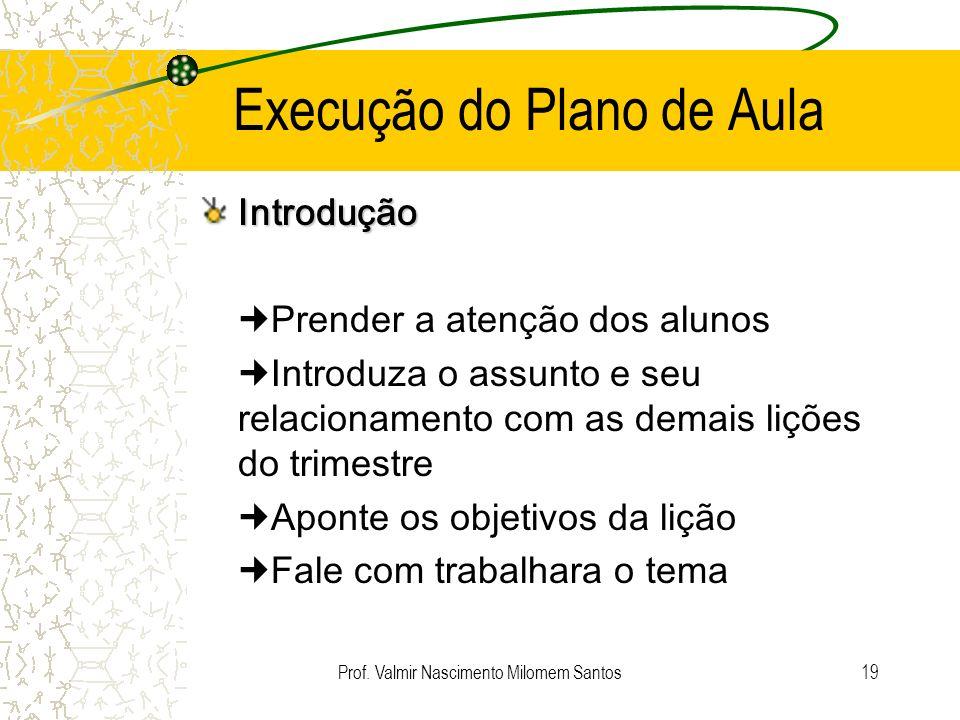 Prof. Valmir Nascimento Milomem Santos18 Semana de Planejamento Domingo: Ler – Leia a lição da semana e faça um estudo geral de todo o texto. Segunda: