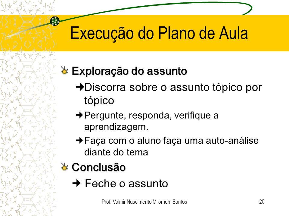 Prof. Valmir Nascimento Milomem Santos19 Execução do Plano de Aula Introdução Prender a atenção dos alunos Introduza o assunto e seu relacionamento co