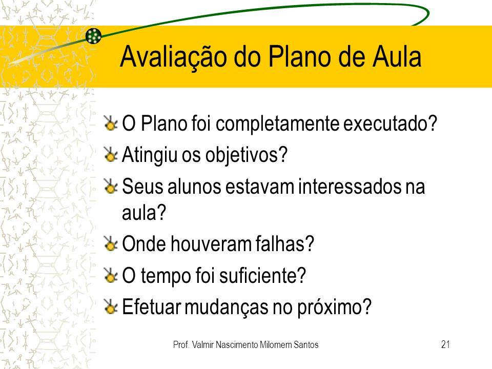 Prof. Valmir Nascimento Milomem Santos20 Execução do Plano de Aula Exploração do assunto Discorra sobre o assunto tópico por tópico Pergunte, responda