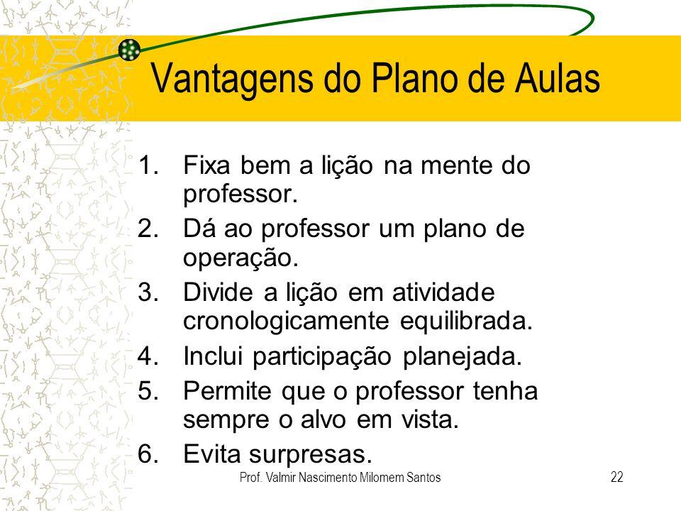 Prof. Valmir Nascimento Milomem Santos21 Avaliação do Plano de Aula O Plano foi completamente executado? Atingiu os objetivos? Seus alunos estavam int