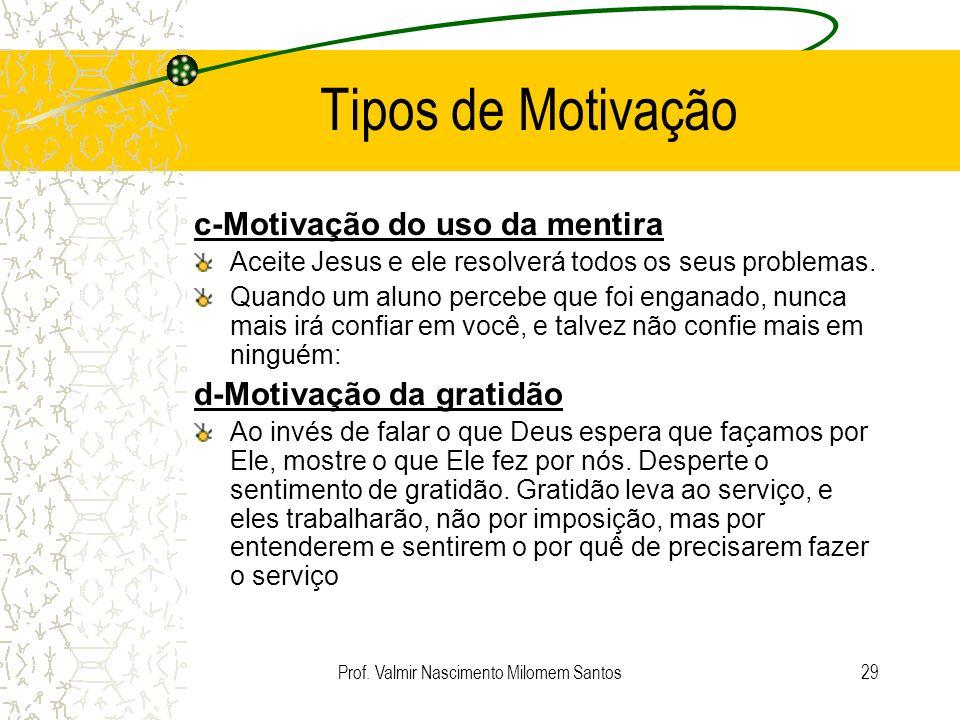 Prof. Valmir Nascimento Milomem Santos28 Tipos de Motivação a) Motivação por Retribuição Se você se comportar direitinho, ganha um picolé. Se você dec