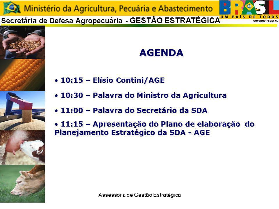 Assessoria de Gestão Estratégica Secretária de Defesa Agropecuária - GESTÃO ESTRATÉGICA AGENDA 10:15 – Elísio Contini/AGE 10:15 – Elísio Contini/AGE 1