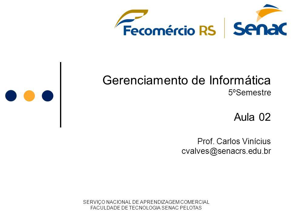Gerenciamento de Informática 5ºSemestre Aula 02 Prof. Carlos Vinícius cvalves@senacrs.edu.br SERVIÇO NACIONAL DE APRENDIZAGEM COMERCIAL FACULDADE DE T