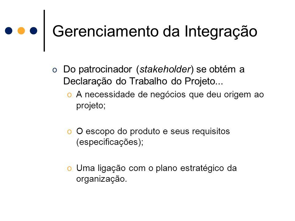 Gerenciamento da Integração o Do patrocinador (stakeholder) se obtém a Declaração do Trabalho do Projeto... oA necessidade de negócios que deu origem