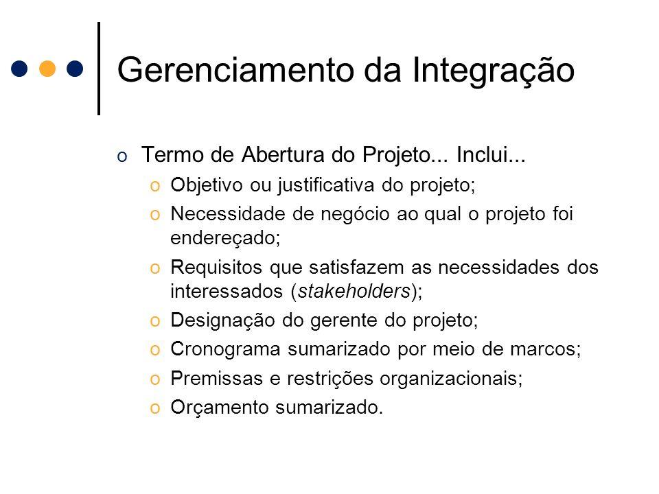 Gerenciamento da Integração o Termo de Abertura do Projeto... Inclui... oObjetivo ou justificativa do projeto; oNecessidade de negócio ao qual o proje