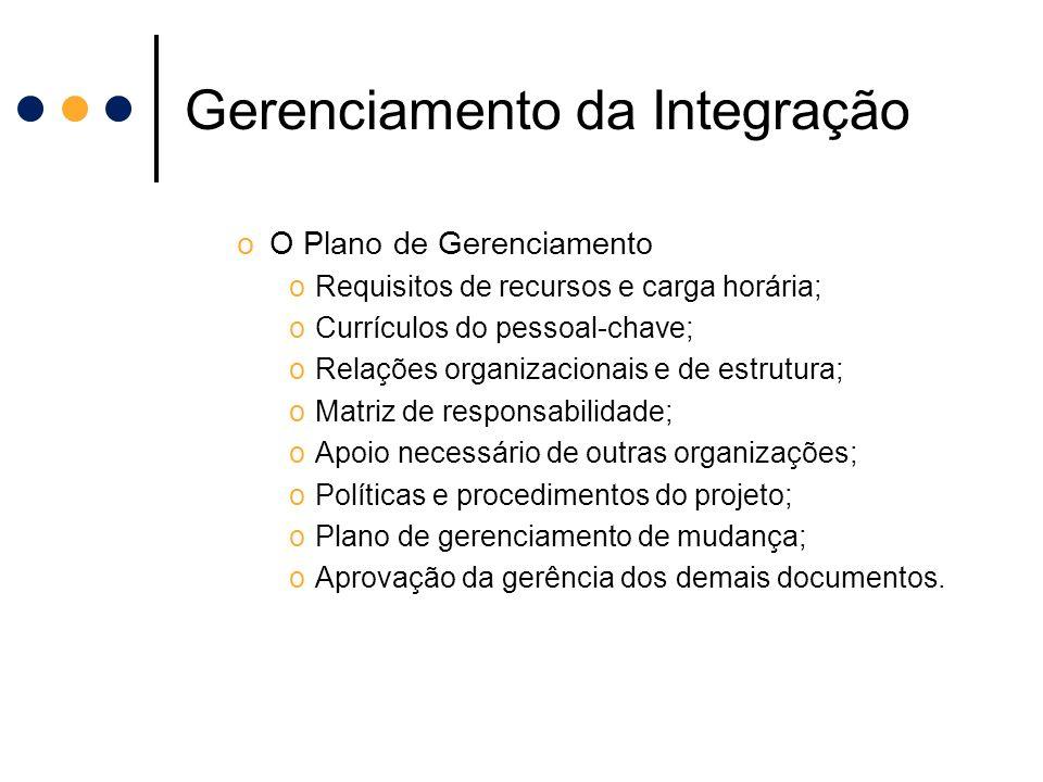 Gerenciamento da Integração oO Plano de Gerenciamento oRequisitos de recursos e carga horária; oCurrículos do pessoal-chave; oRelações organizacionais