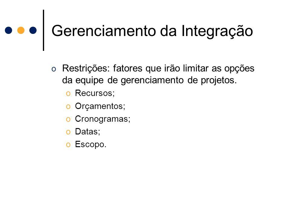 Gerenciamento da Integração o Restrições: fatores que irão limitar as opções da equipe de gerenciamento de projetos. oRecursos; oOrçamentos; oCronogra