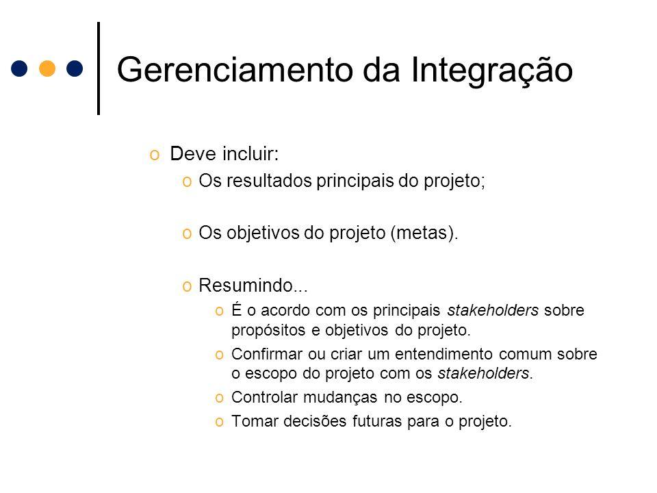 Gerenciamento da Integração oDeve incluir: oOs resultados principais do projeto; oOs objetivos do projeto (metas). oResumindo... oÉ o acordo com os pr