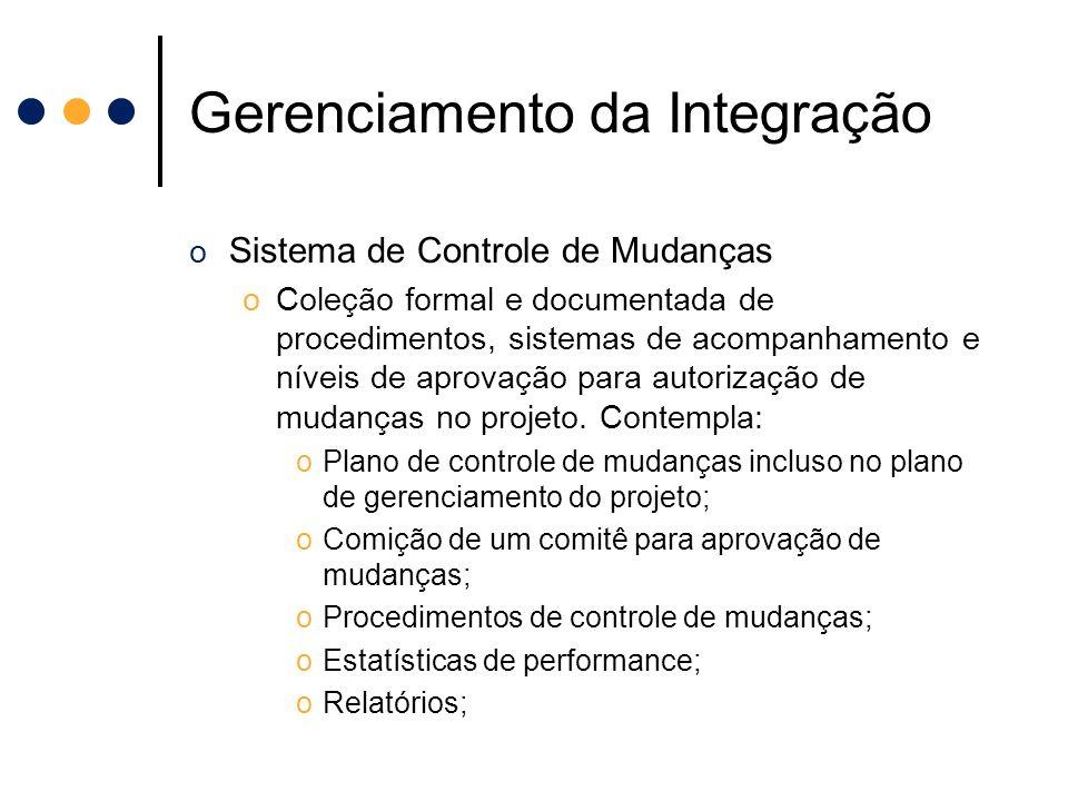 Gerenciamento da Integração o Sistema de Controle de Mudanças oColeção formal e documentada de procedimentos, sistemas de acompanhamento e níveis de a