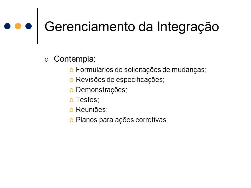 Gerenciamento da Integração o Contempla: oFormulários de solicitações de mudanças; oRevisões de especificações; oDemonstrações; oTestes; oReuniões; oP