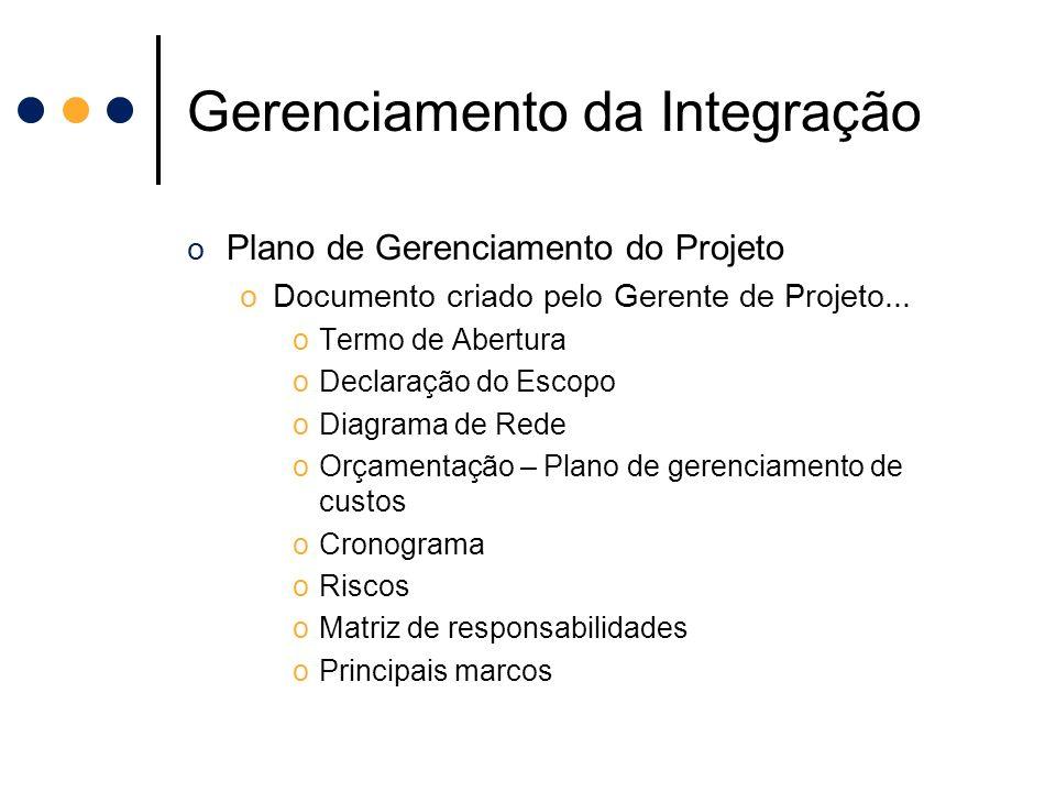Gerenciamento da Integração o Plano de Gerenciamento do Projeto oDocumento criado pelo Gerente de Projeto... oTermo de Abertura oDeclaração do Escopo