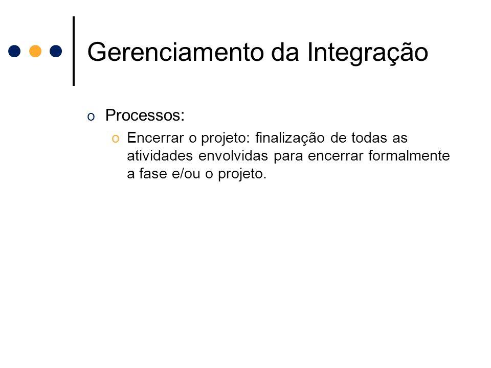 Gerenciamento da Integração o Processos: oEncerrar o projeto: finalização de todas as atividades envolvidas para encerrar formalmente a fase e/ou o pr