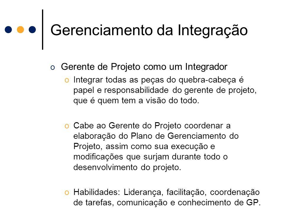 Gerenciamento da Integração o Gerente de Projeto como um Integrador oIntegrar todas as peças do quebra-cabeça é papel e responsabilidade do gerente de