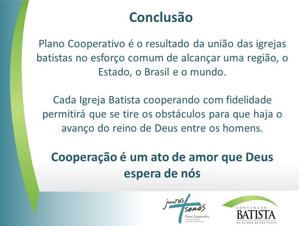 Conclusão Plano Cooperativo é o resultado da união das igrejas batistas no esforço comum de alcançar uma região, o Estado, o Brasil e o mundo. Cada Ig