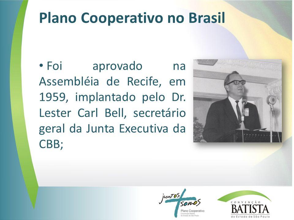 Plano Cooperativo no Brasil Foi aprovado na Assembléia de Recife, em 1959, implantado pelo Dr. Lester Carl Bell, secretário geral da Junta Executiva d