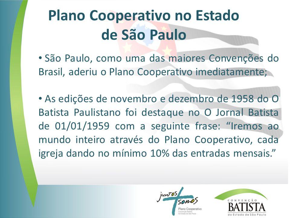 Plano Cooperativo no Estado de São Paulo São Paulo, como uma das maiores Convenções do Brasil, aderiu o Plano Cooperativo imediatamente; As edições de