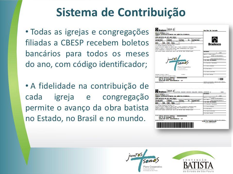 Sistema de Contribuição Todas as igrejas e congregações filiadas a CBESP recebem boletos bancários para todos os meses do ano, com código identificador; A fidelidade na contribuição de cada igreja e congregação permite o avanço da obra batista no Estado, no Brasil e no mundo.