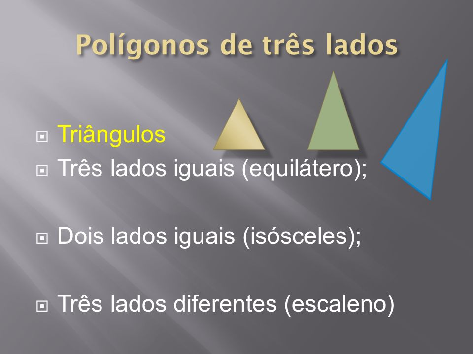 Triângulos Três lados iguais (equilátero); Dois lados iguais (isósceles); Três lados diferentes (escaleno)