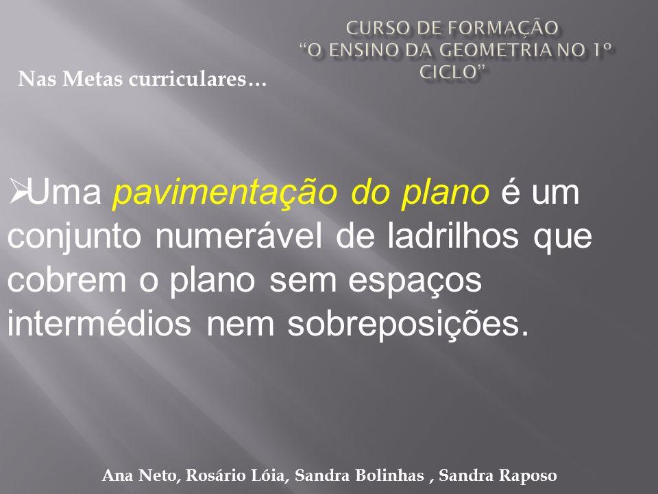 Ana Neto, Rosário Lóia, Sandra Bolinhas, Sandra Raposo Uma pavimentação do plano é um conjunto numerável de ladrilhos que cobrem o plano sem espaços i