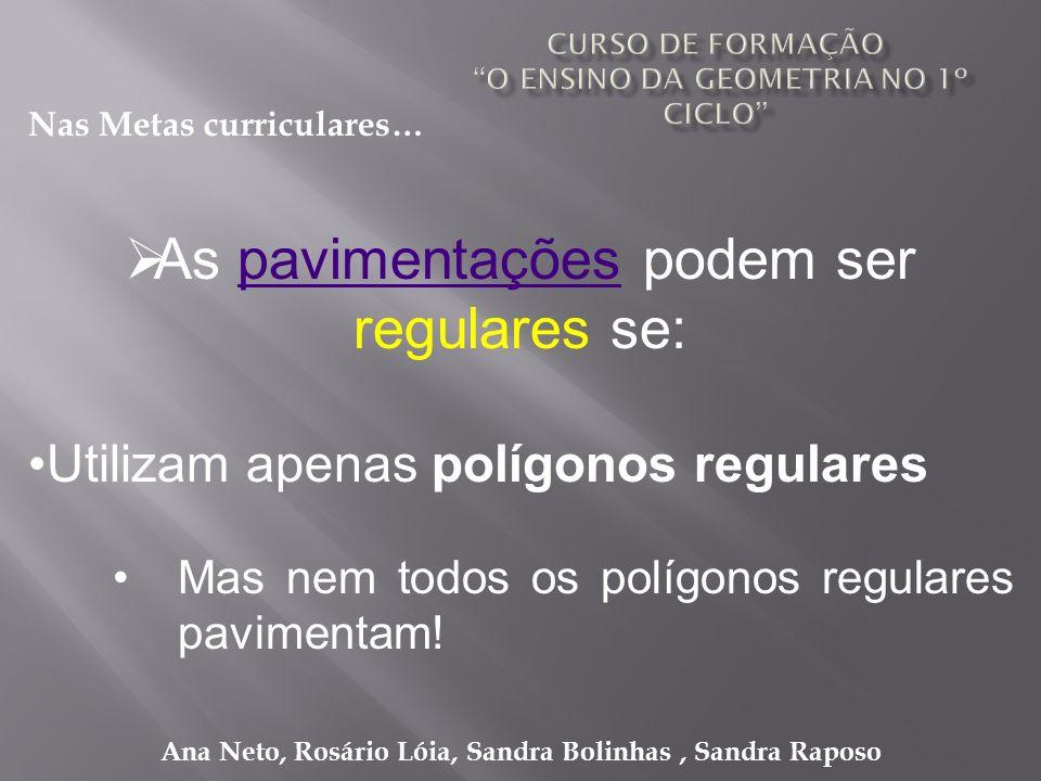 Ana Neto, Rosário Lóia, Sandra Bolinhas, Sandra Raposo As pavimentações podem ser regulares se:pavimentações Utilizam apenas polígonos regulares Mas n