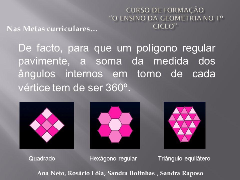 Ana Neto, Rosário Lóia, Sandra Bolinhas, Sandra Raposo De facto, para que um polígono regular pavimente, a soma da medida dos ângulos internos em torn