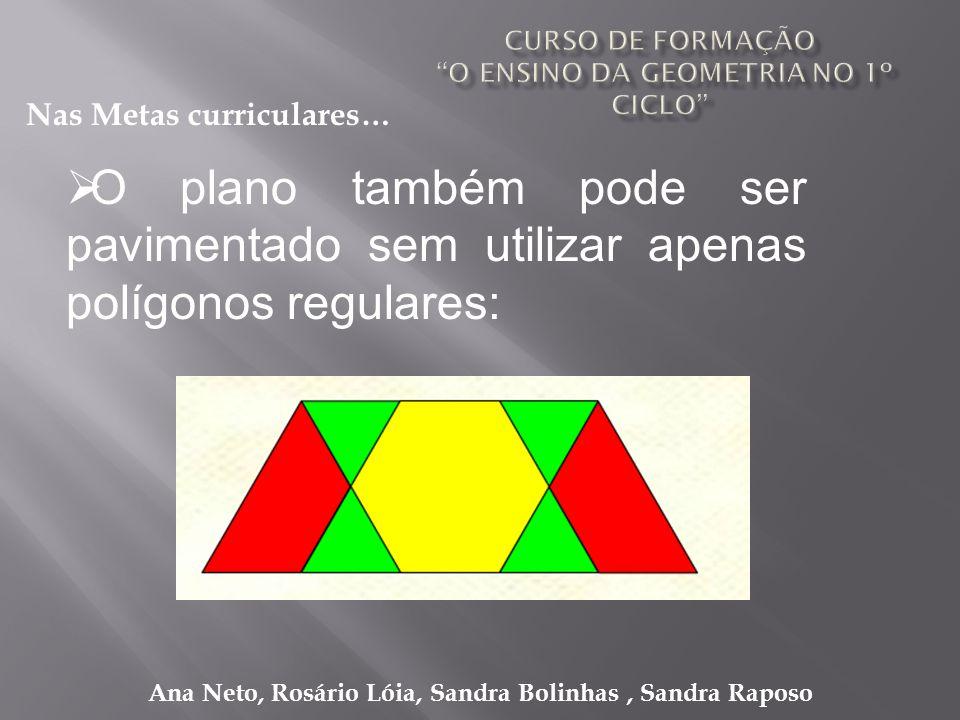 Ana Neto, Rosário Lóia, Sandra Bolinhas, Sandra Raposo O plano também pode ser pavimentado sem utilizar apenas polígonos regulares: Nas Metas curricul