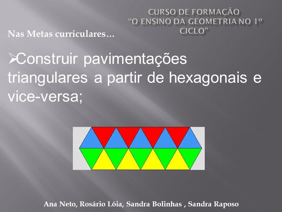 Ana Neto, Rosário Lóia, Sandra Bolinhas, Sandra Raposo Construir pavimentações triangulares a partir de hexagonais e vice-versa; Nas Metas curriculare