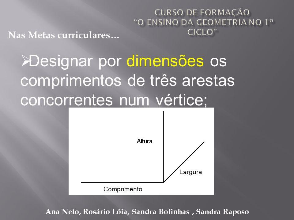 Ana Neto, Rosário Lóia, Sandra Bolinhas, Sandra Raposo Designar por dimensões os comprimentos de três arestas concorrentes num vértice; Nas Metas curr